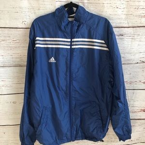 - Adidas track coat blue with white stripes
